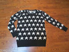 CINDSTORY BLACK WITH WHITE STARS LONG TUNIC POLY/RABBIT HAIR SWEATER SIZE S/M