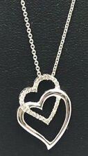 Sterling Silver 925 Diamond Pave Elegant Double Heart Interlock Pendant Necklace