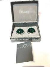 Lalique Cabochon Boucles d'Oreilles Emeraude Earrings Emerald  Orecchini NEW