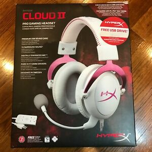 Hyper X Cloud II Pro Gaming Headset WIRED (Pink / White) READ DESCRIPTION