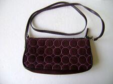 CUTE BROWN SHOULDER STRAP BAG W/ PINK CIRCLE DESIGN & LINING