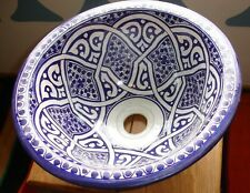 Moroccan medium blue ceramic  round Fes sink wash basin