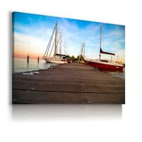 SEASCAPE BEACH BOAT Perfect View Canvas Wall Art Picture Large SIZES AB10 X