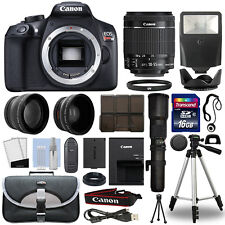 Canon EOS Rebel T6 DSLR Camera+ 4 Lens 18-55mm IS II+ 500mm + 16GB Telephoto Kit