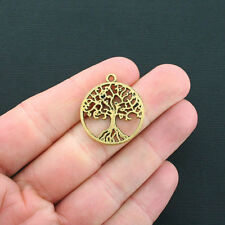 6 Tree of Life Charms Antique Gold Tone Circle Open Design - GC458