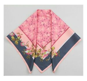 PURE SILK 65CM Women Square Scarf Head Neck Hair Wrap Blue Pink Floral Bandana