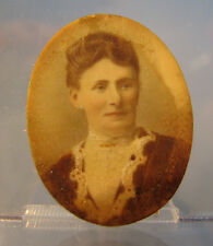 # Victorian Miniature portrait of a lady in a high necked blouse
