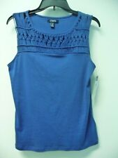 NWT Chaps Blue Sleeveless Knit Top Macrame Neckline Size PL Retail $45