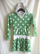 Girls Dress - John Lewis, age 8 128cm/62cm chest, green/white spot, fleecey 7937