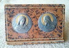 Antique french en métal Blanc Or Art Nouveau plaques Christ Vierge Marie E. hydropisie