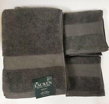 NEW RALPH LAUREN WESCOTT 3 PC SET GRAY,GREY SMOKE BATH+HAND+WASH CLOTH TOWEL