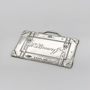 Vintage Webster Co. Sterling Silver Luggage Tag in the form of a Suitcase - SL