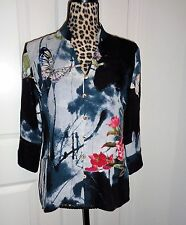 Citron Santa Monica Button Front Butterfly Floral Art To Wear Silk Top Size PXS