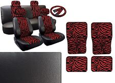 Red Zebra Deluxe Synth Leather Seat Cover Set Black Leatherette PLUS 4pc Mats