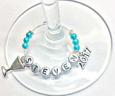 1  PERSONALISED 2018 WINE GLASS CHARM : PROM PARTY table place BIRTHDAY GIFT BBQ