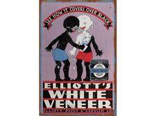 NEW Elliotts White Veneer tin metal sign