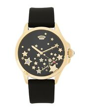 NEW JUICY COUTURE FERGIE GOLD TONE,BLACK SILICONE BAND,STAR,PAVE, WATCH 1901493