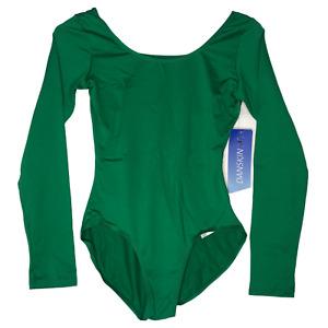 Danskin Women's Long-Sleeve Leotard Kelly Green Compression Size M/M (8-10) New