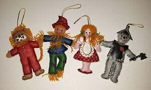 Vintage Wizard Of Oz  Felt  Sequin Christmas Ornaments Bucilla 4 Piece Set