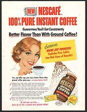 1953 NESCAFE Instant Coffee AD w/Happy Homemaker Housewife~Vintage Kitchen Decor