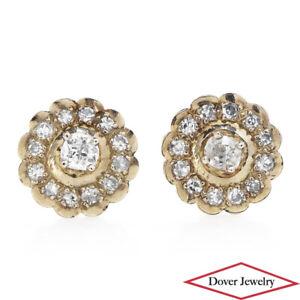 Estate Diamond 14K Gold Elegant Round Halo Stud Earrings NR