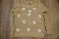 LC Lauren Conrad Women's Size XL Sweater NWT Heart Lace Print Knit Long Sleeve