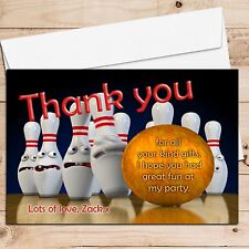 10 Personalised Tenpin Bowling Birthday Party Thank you Thankyou Cards B1