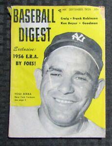 1956 Sept BASEBALL DIGEST Magazine VG 4.0 Yogi Berra / Frank Robinson