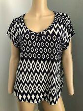 WITCHERY sleeveless navy white top 100% linen M fits 12 14 EUC