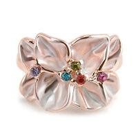 1x Elegant CZ Rose Gold Plated Colorful Clovers Rhinestone Wedding Finger Rings