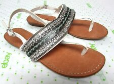 Zigi Soho women's size 7 M White ankle strap flats sandals thong wide strap