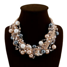 Golden Chain Multi-Color Simulated Pearls Choker Statement Necklace For Women