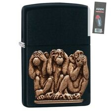 Zippo 29409 3 Monkeys See Hear Speak No Evil Black Emblem Lighter + FLINT PACK