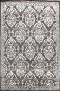 All-Over Charcoal/ Silver Versace Wool/ Silk Hand-knotted Oriental Area Rug 9x12