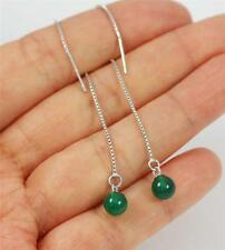 Pull Through Solid 925 Sterling Silver, Green Onyx Ball Dangle Earrings