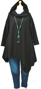 """PLUS SIZE BLACK JERSEY COTTON IRREGULAR HOODED A-LINE TUNIC BUST UP TO 52"""""""