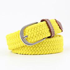 Unisex Men Women Classic Pin Buckle Belt Braided Canvas Casual  Jeans Waistband