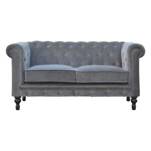 Chic Grey Velvet Chesterfield 2 Seater Sofa Hand Made Mango Wooded Legs Modern