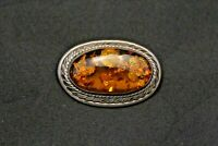 """Vintage Sterling Silver Baltic Amber Brooch 2"""" x 1 1/4"""" 19.4 g"""