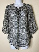 AGB Women Size S Gray Geometric Lace Neck Sheer 3/4 Sleeve Blouse