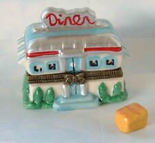 New Handpainted Classic Retro 1950s Diner Porcelain Hinged Trinket Box