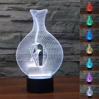 3D Illusion Décoratif Tactile Lampe Lumière LED Décoration / Vase Oiseau