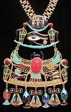 "Massive Vtg 16x6"" Signed Di' Orios Enamel Egyptian Revival Scarab Glass Necklace"