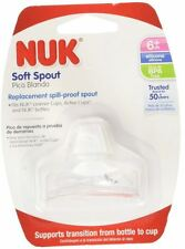 2 NUK Clear Silicone Soft Spill-Proof Replacement Spouts, New, FREE SHIPPING