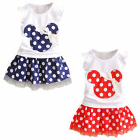 Minnie Mouse Clothes Set Kids Baby Girls Summer Outfits Clothes Sleeveless