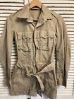 Vintage 1957 Man's Cotton Tan Tropical Jacket USAF Belted Size 32 L