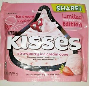 HERSHEY'S kisses, STRAWBERRY ICE CREAM CONE, one 9 OZ BAG