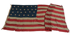Antique US American Flag 25 Stars 1836-37 hand stitched maritime use? 5' x 11'