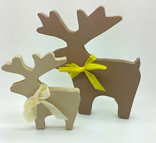 BROWN BEIGE STAG REINDEERS DEER CHRISTMAS DECORATION SHABBY CHIC HOME