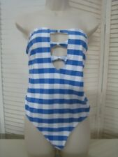 NEW Vero Moda Strapless One Piece Swimsuit Blue & Wt SZ XL Tall